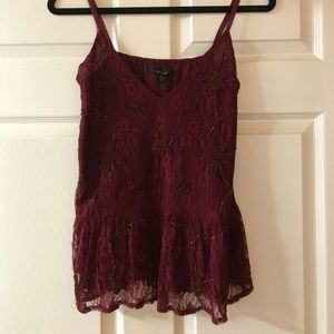 Burgundy beaded lace tank
